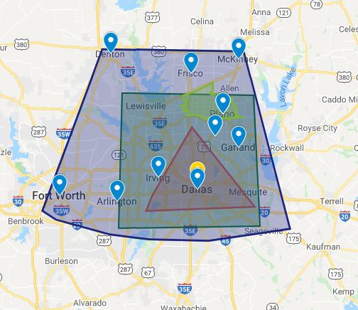 Dallas Paints - plano - custom map